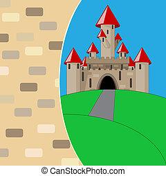 kasteel, middeleeuws, spotprent