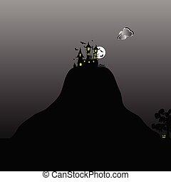 kasteel, op, de, berg, voor, halloween, dag, illustratie