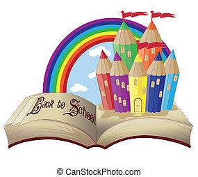 kasteel, schoolboek, magisch, back