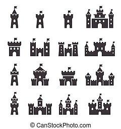 kasteel, set, pictogram