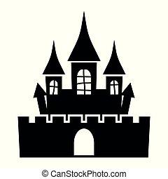 kasteel, silhouette, pictogram