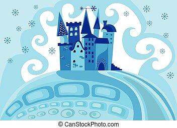 kasteel, sneeuw, prinsesje