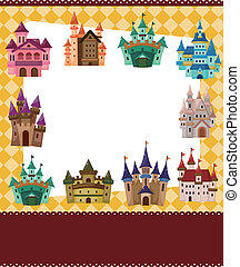 kasteel, spotprent, kaart