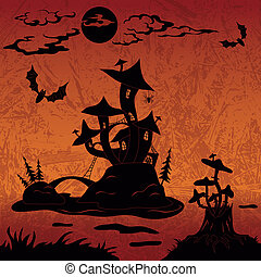 kasteel, vakantie, halloween, landscape, paddenstoel