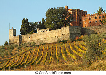 kasteel, van, brolio, en, wijngaarden, in, chianti, tuscany,...