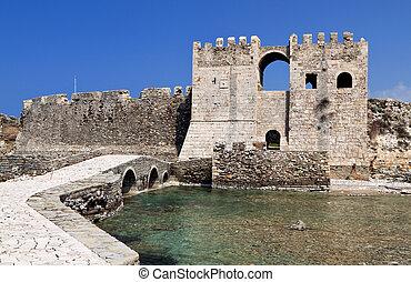 kasteel, van, methoni, in, griekenland