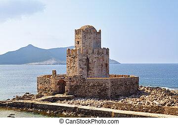 kasteel, van, methoni, op, griekenland