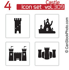kasteel, vector, black , set, iconen