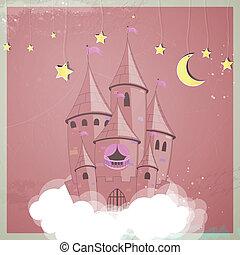 kasteel, vector, prinsesje, nacht