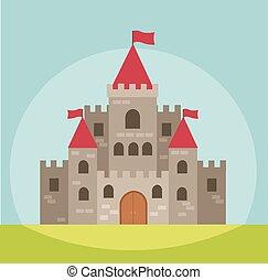 kasteel, vector, toren, illustratie