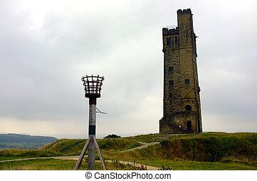 kasteel, victoria, heuvel, toren