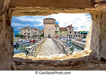 Kastel Gomilica through stone window view, Dalmatia, Croatia