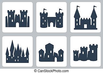 kastelen, vector, set, iconen