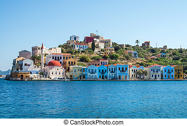 Kastellorizo island, Dodecanese, Greece. Colorful Mediterranean architecture on a sunny clear day