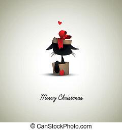 kasten, überraschung, weihnachtsgeschenk, katz