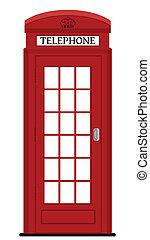 kasten, abbildung, telefon, vektor, london