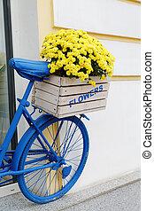 kasten, altes , blumen, fahrrad