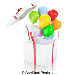 kasten, balloons., bunte, geschenk, 3d