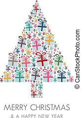 kasten, baum, geschenk, bunte, weihnachten