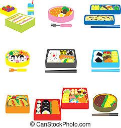 kasten, bento, bo, japanisches , bento, mittagstisch