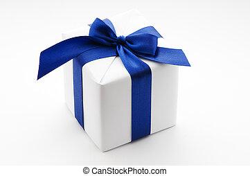 kasten, blaues, weißes band, geschenk