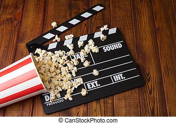 kasten, briefe, umgeschuettet, poppers, wood., dunkel, schwarz, popcorn, weißes