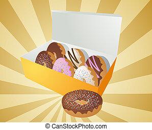 kasten, donuts, abbildung
