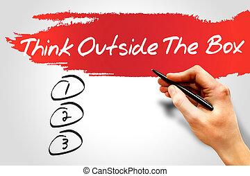 kasten, draußen, denken