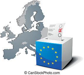 kasten, europa, stimmzettel