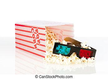 kasten, film, brille, popcorn, 3d