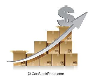 kasten, finanziell, dollar, schaubild