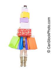 kasten, frau- einkaufen, geschenk, junger, tasche, besitz