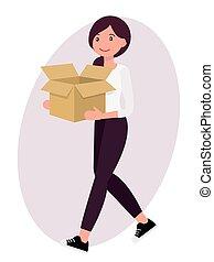 kasten, frau, zeichen, gesicht, heiter, papier, design, weibliche , tragen, karikatur, leerer
