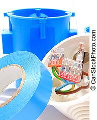 kasten, gebrauch, installationen, elektrische komponenten, kabel