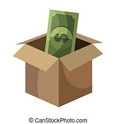 kasten, geld, karton, geöffnet