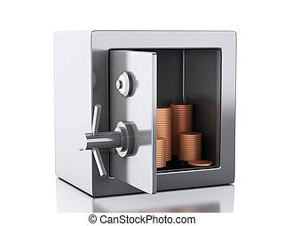 kasten, geld, sicher, 3d