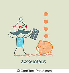 kasten, geld, taschenrechner, pig-coin, buchhalter, fallender , zählen
