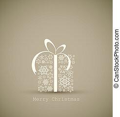 kasten, gemacht, schneeflocken, geschenk, weihnachten