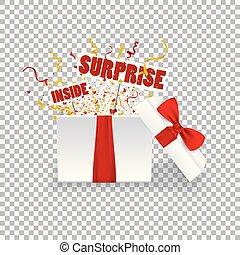 kasten, geschenk, boxing.opened, realistisch, confetti., überraschung, schleife, rotes , 3d