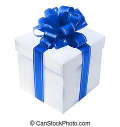 kasten, geschenk, freigestellt, schleife, white., rotes