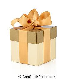 kasten, geschenk, goldbogen