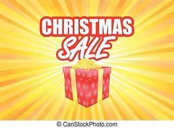 kasten, geschenk, plakat, verkauf, gelber , schablone, licht, weihnachten