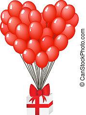 kasten, geschenk, rotes band