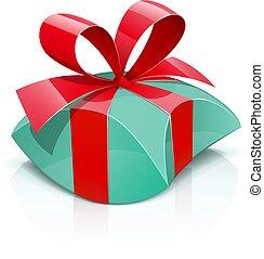 kasten, geschenk, rotes , bow.
