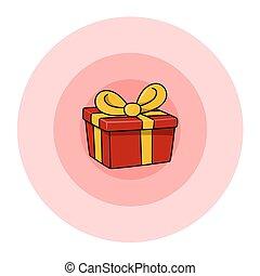 kasten, geschenk, rotes