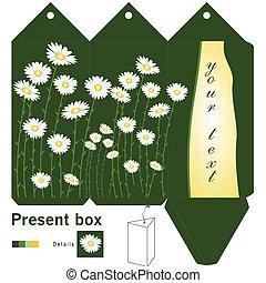 kasten, geschenk, schablone, gänseblumen