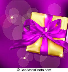 kasten, geschenkband, bow., geschenk