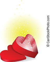 kasten, glänzend, rotes