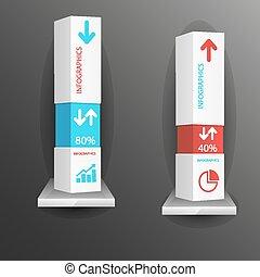 kasten, graus, modern, schablone, infographic