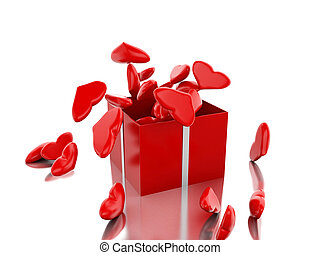 kasten, hearts., rotes , geschenk, 3d